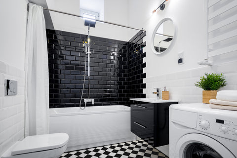 black and white subway tiles bathroom design - room to rooms