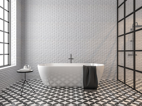 Black And White Subway Tiles Bathroom Design Room To Rooms