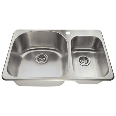 POLARIS PTL1213 18 GAUGE DOUBLE BOWL TOPMOUNT STAINLESS STEEL KITCHEN SINK IN BRUSHED SATIN