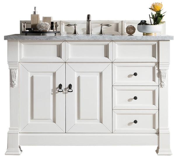James Martin 147-114-5246-4DSC Brookfield 48 Inch Cottage White Single Vanity with Drawers with 4 CM Santa Cecilia Granite Top