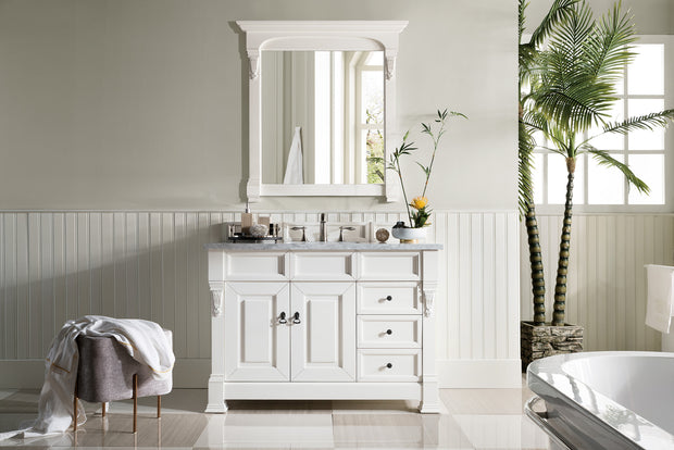 James Martin 147-114-5246-3CAR Brookfield 48 Inch Cottage White Single Vanity with Drawers with 3 CM Carrara Marble Top