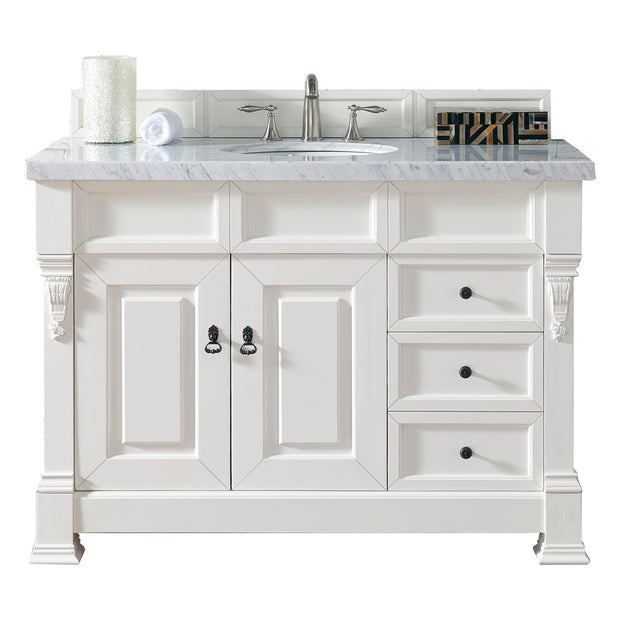 James Martin 147-114-5246-3AF Brookfield 48 Inch Cottage White Single Vanity with Drawers with 3 CM Arctic Fall Solid Surface Top