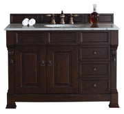 James Martin 147-114-5266-2CAR Brookfield 48 Inch Burnished Mahogany Single Vanity w/ Drawers with Carrara White Stone Top