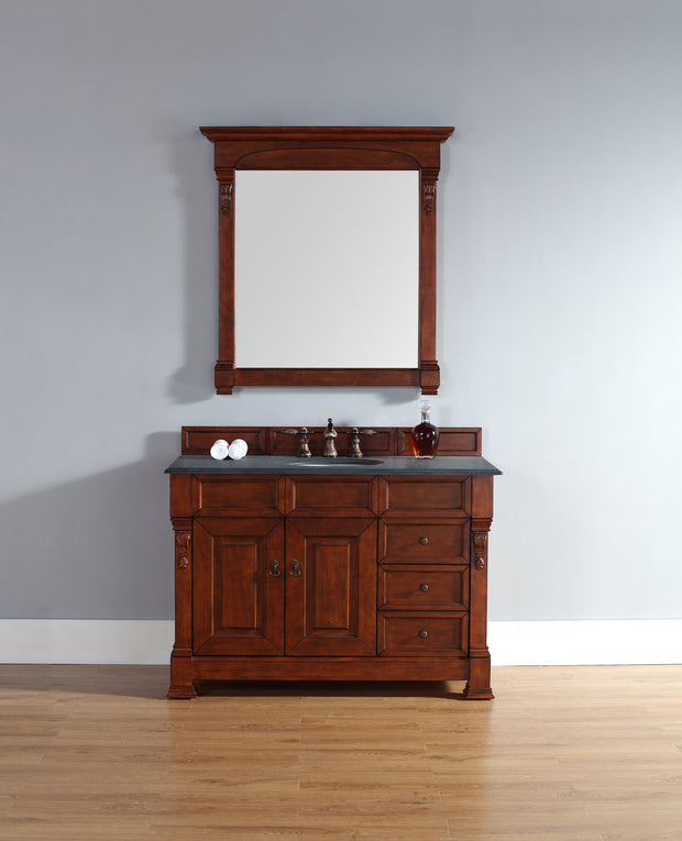 James Martin 147-114-5286-2BLK Brookfield 48 Inch Warm Cherry Single Vanity w/ Drawers with Absolute Black Rustic Stone Top