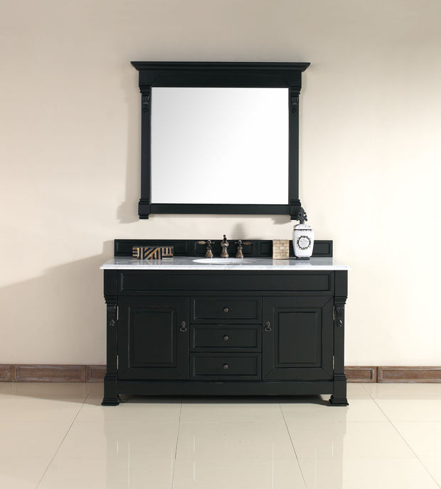 James Martin 147-114-5331-3AF Brookfield 60 Inch Antique Black Single Vanity with 3 CM Arctic Fall Solid Surface Top