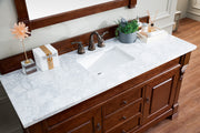 James Martin 147-114-5381-3CAR Brookfield 60 Inch Warm Cherry Single Vanity with 3 CM Carrara Top
