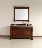 James Martin 147-114-5381-2CAR Brookfield 60 Inch Warm Cherry Single Vanity with Carrara White Stone Top