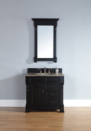 James Martin 147-114-5536-2DSC Brookfield 36 Inch Antique Black Single Vanity w/ Drawers with Santa Cecilia Stone Top