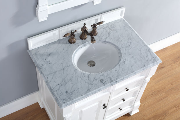 James Martin 147-114-5546-2CAR Brookfield 36 Inch Cottage White Single Vanity w/ Drawers with Carrara White Stone Top