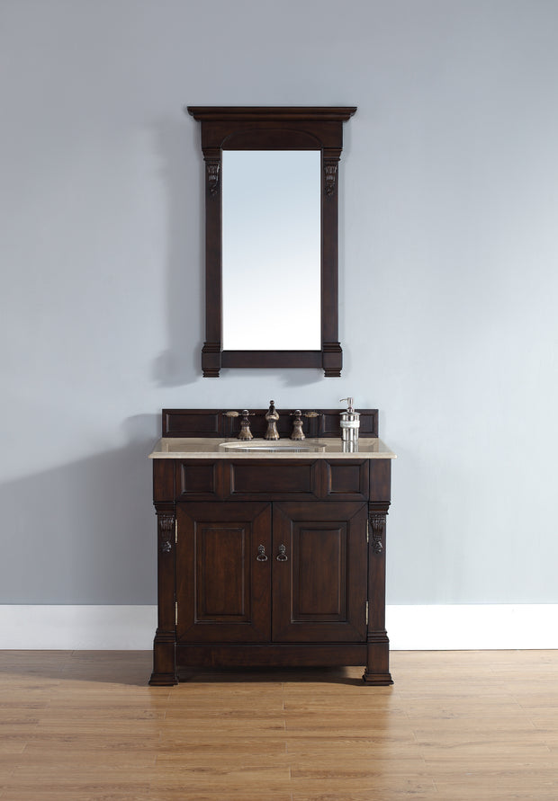 James Martin 147-114-5561-2GLB Brookfield 36 Inch Burnished Mahogany Single Vanity with Galala Beige Marble Stone Top