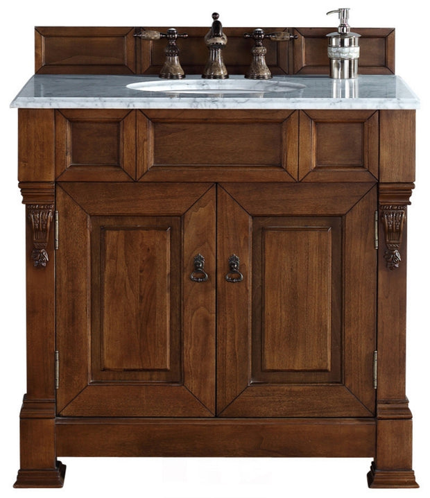 James Martin 147-114-5571-2CAR Brookfield 36 Inch Country Oak Single Vanity with Carrara White Stone Top