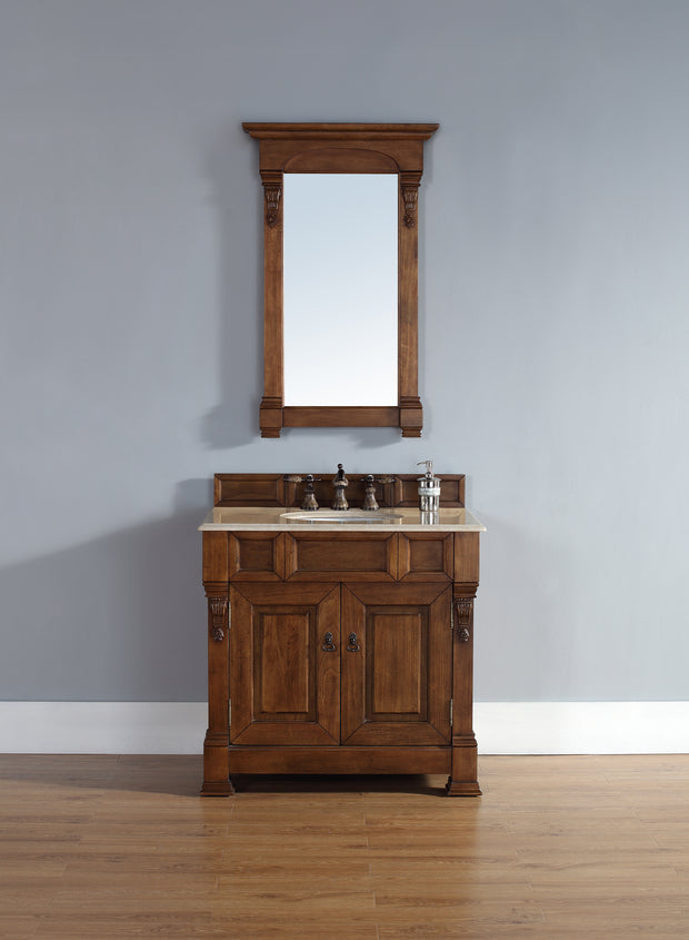 James Martin 147-114-5571-2GLB Brookfield 36 Inch Country Oak Single Vanity with Galala Beige Stone Top