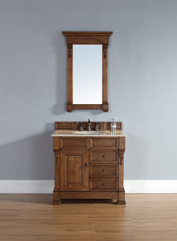 James Martin 147-114-5576-2GLB Brookfield 36 Inch Country Oak Single Vanity w/ Drawers with Galala Beige Stone Top