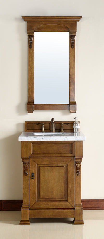 James Martin 147-114-V26-COK-4GLB Brookfield 26 Inch Country Oak Single Vanity with 4cm Galala Beige Stone Top