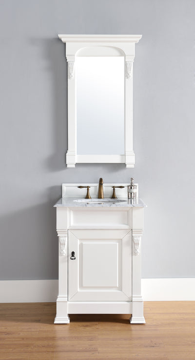 James Martin 147-114-V26-CWH-2DSC Brookfield 26 Inch Cottage White Single Vanity with 2cm Santa Cecilia Stone Top