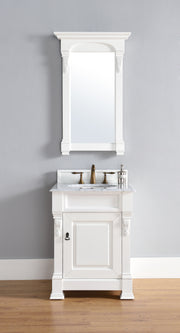 James Martin 147-114-V26-CWH-2GLB Brookfield 26 Inch Cottage White Single Vanity with 2cm Galala Beige Marble Stone Top