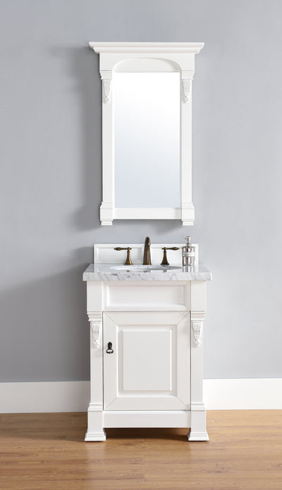 James Martin 147-114-V26-CWH-4DSC Brookfield 26 Inch Cottage White Single Vanity with 4cm Santa Cecilia Stone Top