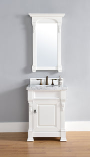 James Martin 147-114-V26-CWH-4GLB Brookfield 26 Inch Cottage White Single Vanity with 4cm Galala Beige Marble Stone Top