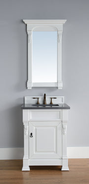 James Martin 147-114-V26-CWH-4BLK Brookfield 26 Inch Cottage White Single Vanity with Absolute Black Rustic Stone Top