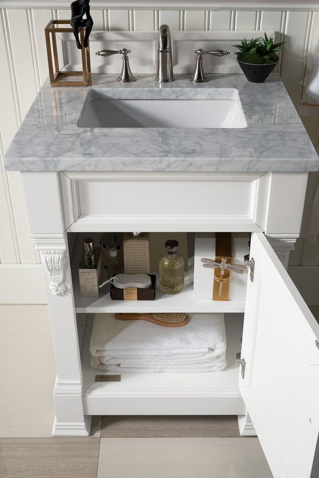 James Martin 147-114-V26-CWH-3CAR Brookfield 26 Inch Cottage White Single Vanity with 3 CM Carrara Marble Top