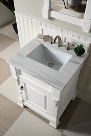 James Martin 147-114-V26-CWH-3AF Brookfield 26 Inch Cottage White Single Vanity with 3 CM Arctic Fall Solid Surface Top