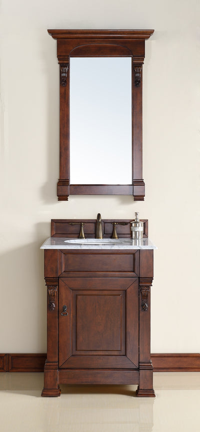 James Martin 147-114-V26-WCH-2BLK Brookfield 26 Inch Warm Cherry Single Vanity with 2cm Absolute Black Rustic Stone Top