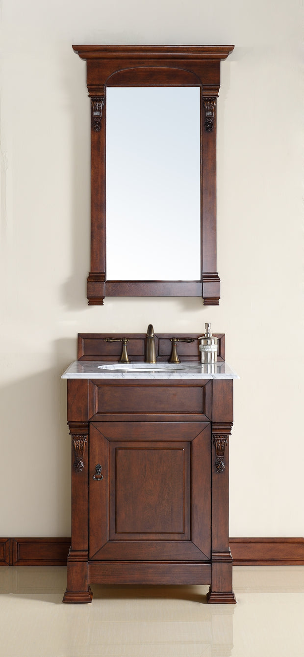 James Martin 147-114-V26-WCH-2DSC Brookfield 26 Inch Warm Cherry Single Vanity with 2cm Santa Cecilia Stone Top