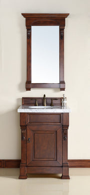 James Martin 147-114-V26-WCH-3SNW Brookfield 26 Inch Warm Cherry Single Vanity with 3cm Snow White Quartz Top