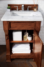 James Martin 147-114-V26-WCH-3CAR Brookfield 26 Inch Warm Cherry Single Vanity with 3 CM Carrara Marble Top
