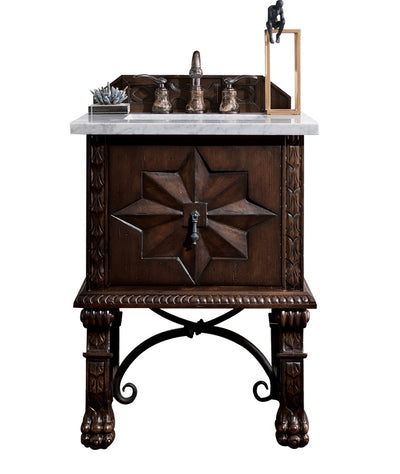 James Martin 150-V26-ANW-3AF Balmoral 26 Inch Single Vanity Cabinet in Antique Walnut with 3 CM Arctic Fall Solid Surface Top