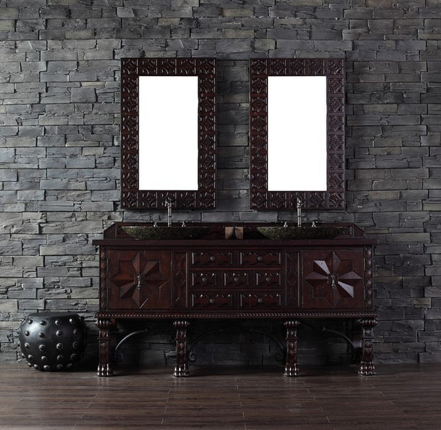 James Martin 150-V72-ANW-4BLK Balmoral 72 Inch Antique Walnut Double Vanity with Black Rustic Stone Top
