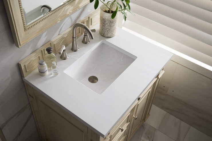 James Martin 157-V30-VV-SW Bristol 30 Inch Single Vanity, Vintage Vanilla, Married Top - Snow White Quartz