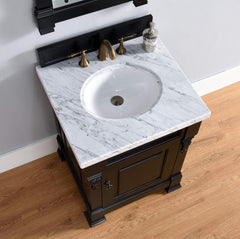 James Martin 147-114-V26-AQB-4CAR Brookfield 26 Inch Antique Black Single Vanity with 4cm Carrara White Stone Top