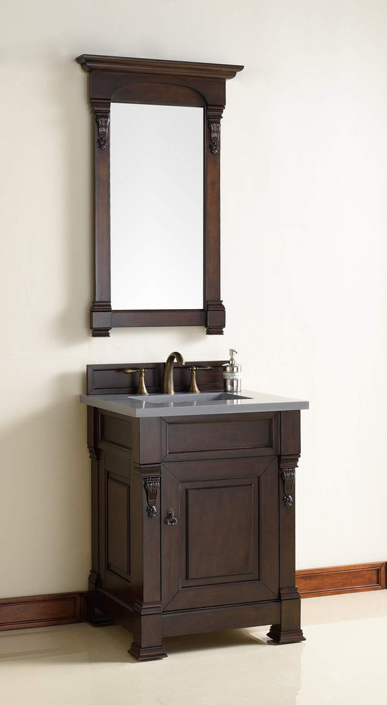 James Martin 147-114-V26-BNM-3SHG Brookfield 26 Inch Burnished Mahogany Single Vanity with 3cm Shadow Gray Quartz Top