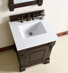 James Martin 147-114-V26-BNM-3SNW Brookfield 26 Inch Burnished Mahogany Single Vanity with 3cm Snow White Quartz Top