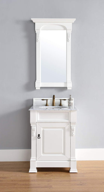 James Martin 147-114-V26-CWH-2CAR Brookfield 26 Inch Cottage White Single Vanity with 2cm Carrara White Stone Top