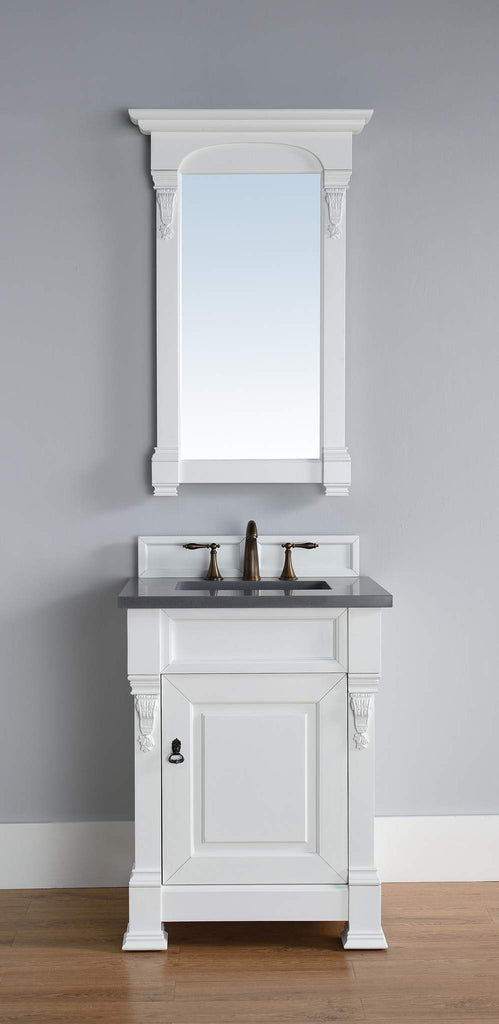 James Martin 147-114-V26-CWH-3SHG Brookfield 26 Inch Cottage White Single Vanity with 3cm Shadow Gray Quartz Top