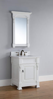 James Martin 147-114-V26-CWH-3SNW Brookfield 26 Inch Cottage White Single Vanity with 3cm Snow White Quartz Top