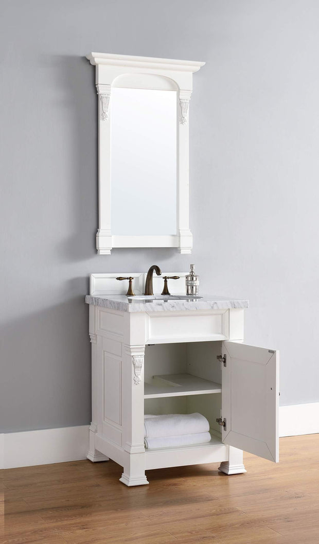James Martin 147-114-V26-CWH-4CAR Brookfield 26 Inch Cottage White Single Vanity with 4cm Carrara White Stone Top