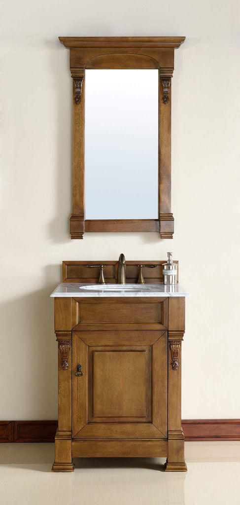 James Martin 147-114-V26-COK-2CAR Brookfield 26 Inch Country Oak Single Vanity with 2cm Carrara White Stone Top