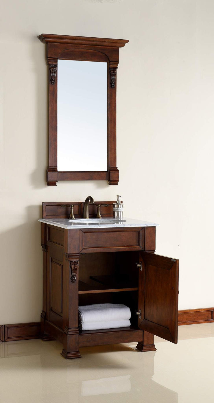 James Martin 147-114-V26-WCH-2CAR Brookfield 26 Inch Warm Cherry Single Vanity with 2cm Carrara White Stone Top