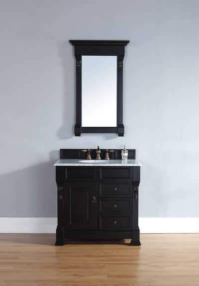 James Martin 147-114-5536-2CAR Brookfield 36 Inch Antique Black Single Vanity w/ Drawers with Carrara White Stone Top