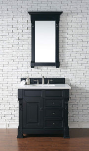 James Martin 147-114-5536-3SNW Brookfield 36 Inch Antique Black Single Vanity and Drawers with Snow Carrara White Top