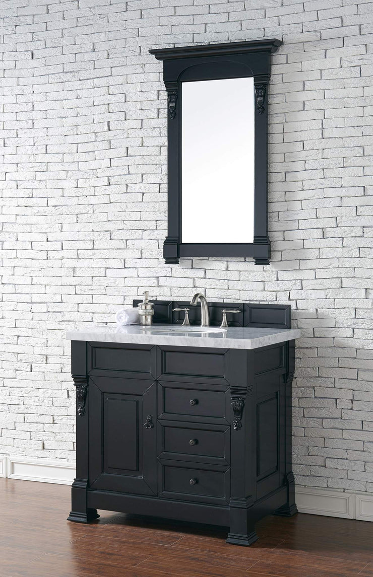 James Martin 147-114-5536-4CAR Brookfield 36 Inch Antique Black Single Vanity and Drawers with Carrara White Top