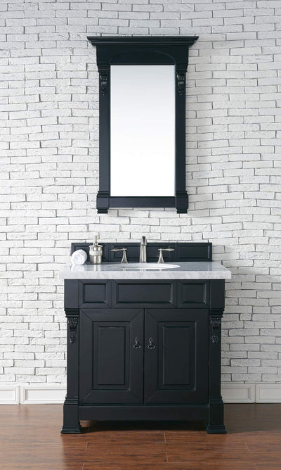 James Martin 147-114-5531-4CAR Brookfield 36 Inch Antique Black Single Vanity with Carrara White Top