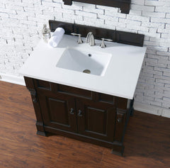 James Martin 147-114-5561-3SNW Brookfield 36 Inch Burnished Mahogany Single Vanity with Snow Carrara White Top