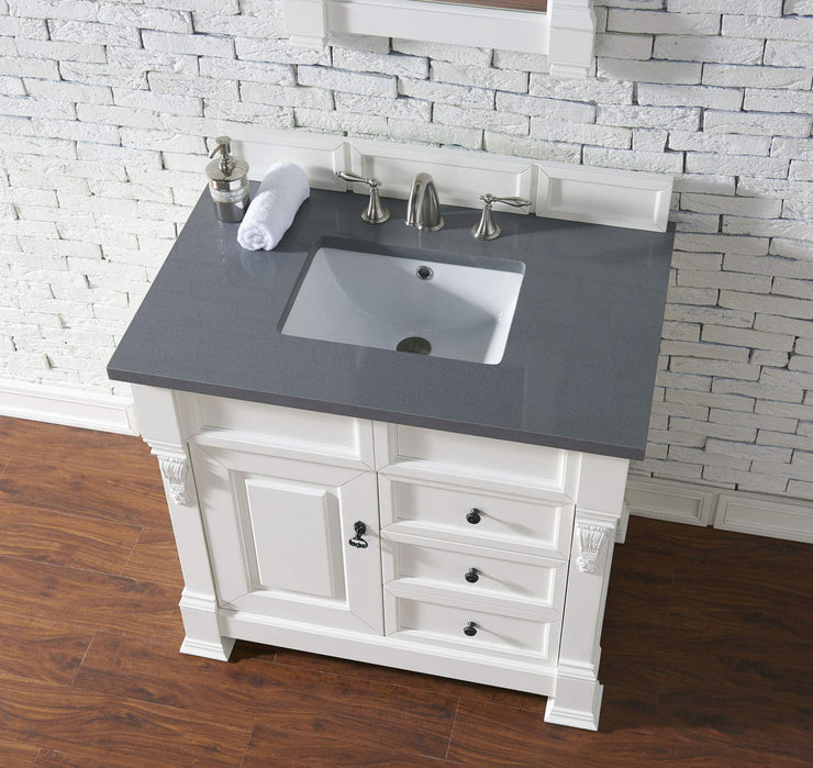 James Martin 147-114-5546-3SHG Brookfield 36 Inch Cottage White Single Vanity and Drawers with Shadow Gray Top