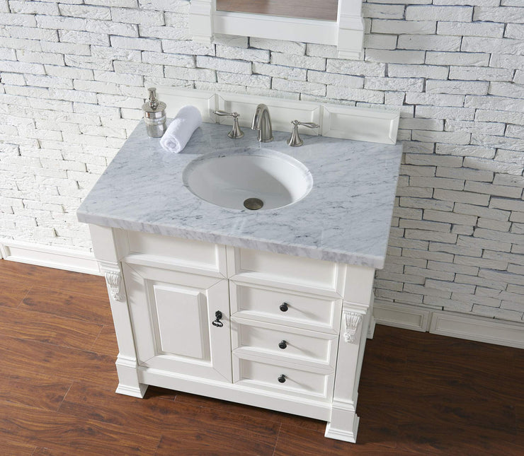 James Martin 147-114-5546-4CAR Brookfield 36 Inch Cottage White Single Vanity and Drawers with Carrara White Top