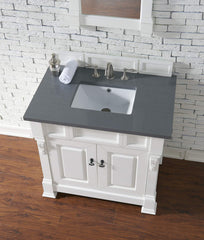 James Martin 147-114-5541-3SHG Brookfield 36 Inch Cottage White Single Vanity with Shadow Gray Top