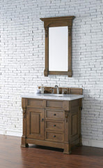 James Martin 147-114-5576-4CAR Brookfield 36 Inch Country Oak Single Vanity and Drawers with Carrara White Top